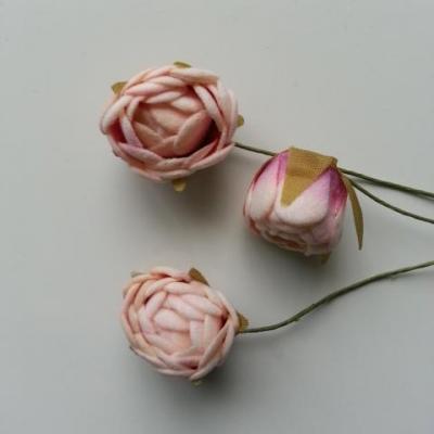 lot de 3 fleurs en mousse peche 2.5cm