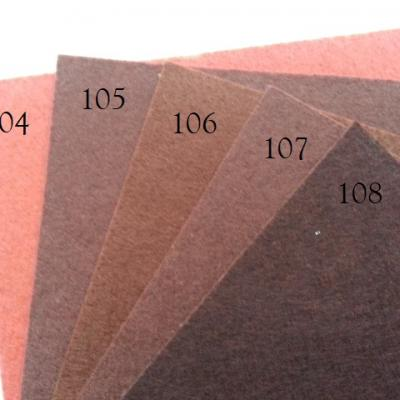 Feuille de feutrine unie 15 cm *15cm marron N105