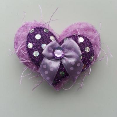 applique double coeur et noeud  tissu matelassé mauve 60*50mm