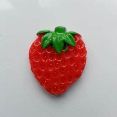 cabochon plat fraise rouge 24*28mm
