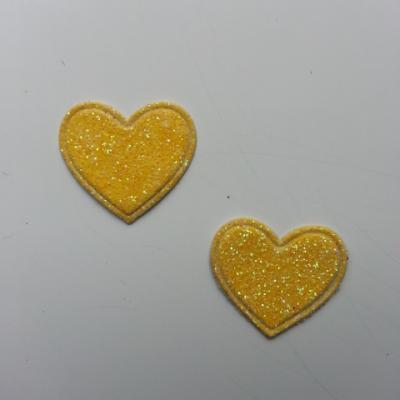 lot de 2 coeurs en tissu de 20mm jaune