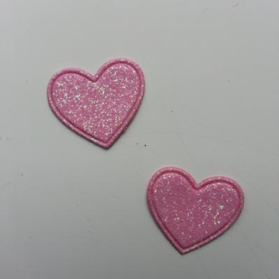 lot de 2 coeurs en tissu de 20mm rose pale
