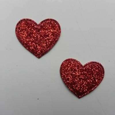 lot de 2 coeurs en tissu de 20mm rouge