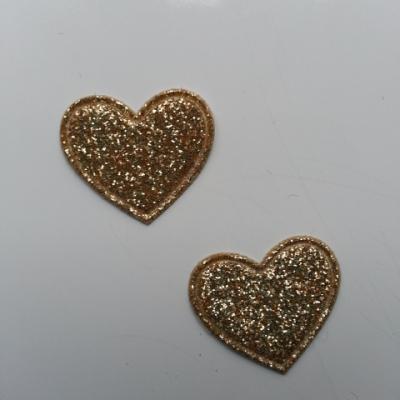 lot de 2 coeurs en tissu de 20mm doré, or