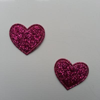 lot de 2 coeurs en tissu de 20mm rose fuchsia