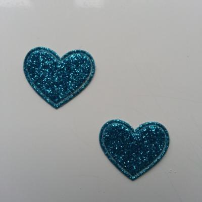 lot de 2 coeurs en tissu de 20mm bleu