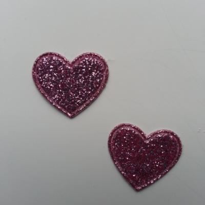 lot de 2 coeurs en tissu de 20mm rose