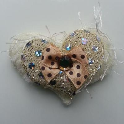 applique double coeur et noeud  tissu matelassé ivoire 60*50mm