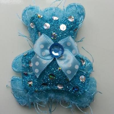 applique double oursonsd  tissu matelassé bleu turquoise 60*55mm