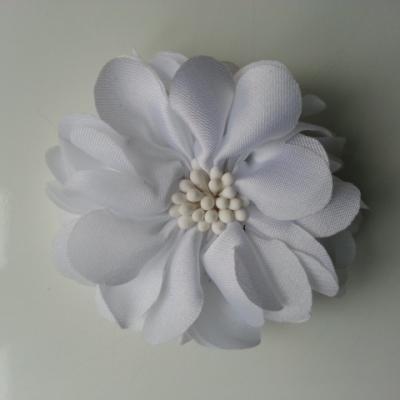 fleur en satin de soie et pistils 50mm  blanc