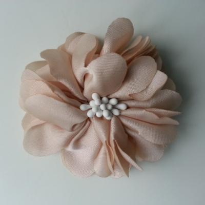 fleur en satin de soie et pistils 50mm  beige