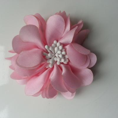 fleur en satin de soie et pistils 50mm  rose