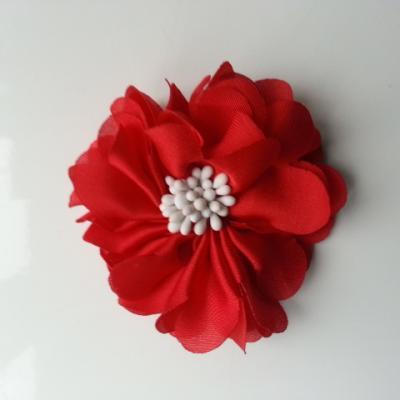 fleur en satin de soie et pistils 50mm  rouge