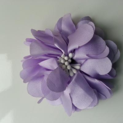 fleur en satin de soie et pistils 50mm  mauve