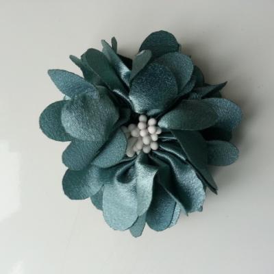 fleur en satin de soie et pistils 50mm  bleu vert