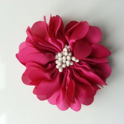 fleur en satin de soie et pistils 50mm  rose fuchsia