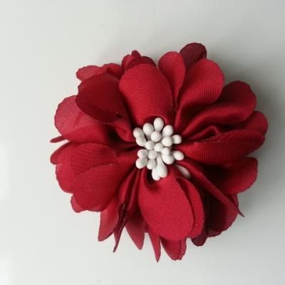 fleur en satin de soie et pistils 50mm  bordeaux