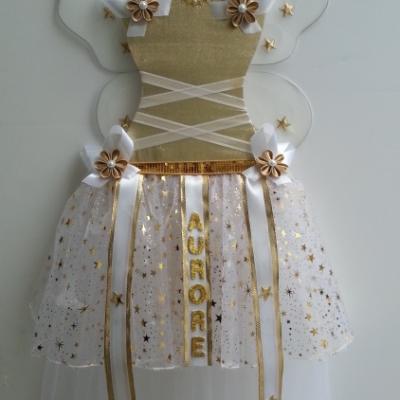Tutu accroche barrette double jupon doré, or et blanc avec ailes et prénom
