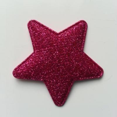 étoile matelassée pailletée  50mm rose fuchsia
