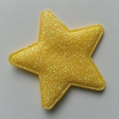 étoile matelassée pailletée  50mm jaune
