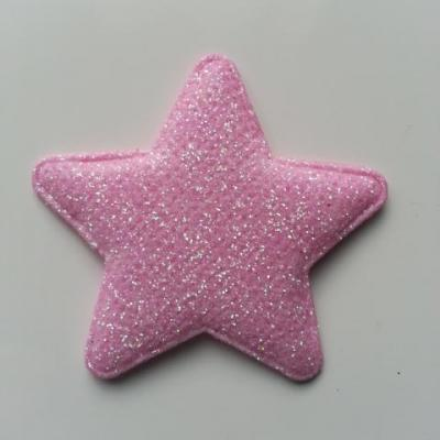 étoile matelassée pailletée  50mm rose