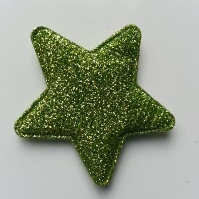 étoile matelassée pailletée  50mm verte