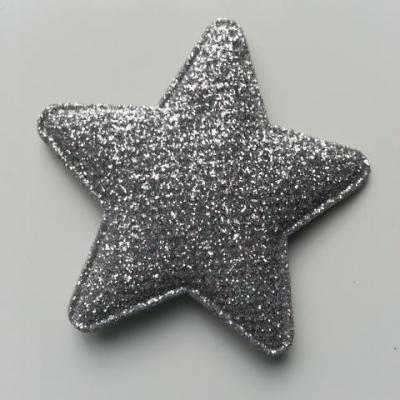 étoile matelassée pailletée  50mm argent