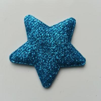 étoile matelassée pailletée  50mm bleu