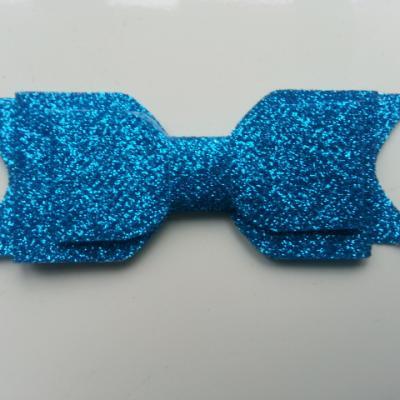 noeud  pailleté   90*35mm bleu