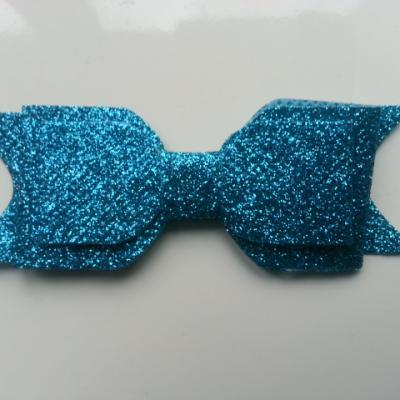 noeud  pailleté   90*35mm bleu turquoise