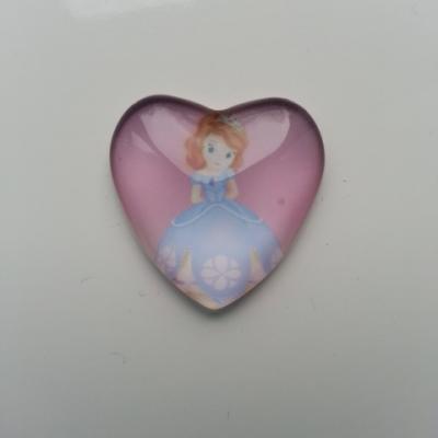 princesse sofia  cabochon coeur en verre   25 mm