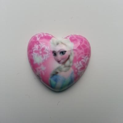coeur en résine  elsa reine des neiges 25mm rose