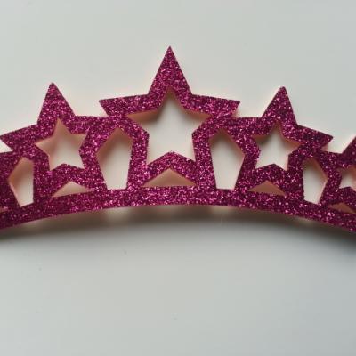 applique couronne de princesse pailletée rose fuchsia 125*45mm
