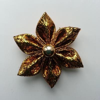 fleur en tissu brillant doré, or 40mm