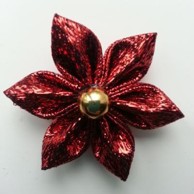 fleur en tissu brillant rouge 40mm