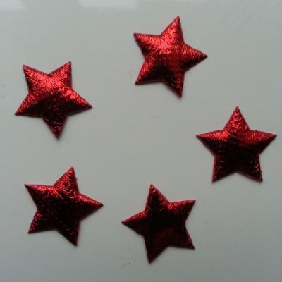 lot de 5 etoiles en tissu 20mm rouge