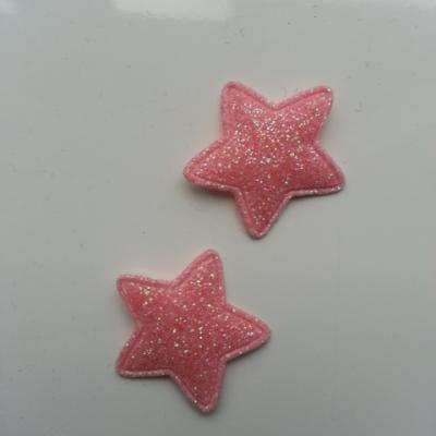 Lot de 2  étoiles matelassées 25mm peche rose pailletées