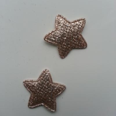 Lot de 2  étoiles matelassées 25mm doré, or pailletées