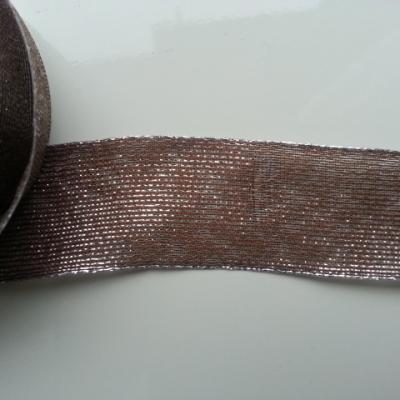 1 metre de ruban  argent métallisé et marron 40mm de largeur