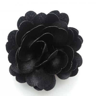 fleur en tissu cristal crêpe satiné  75mm noir