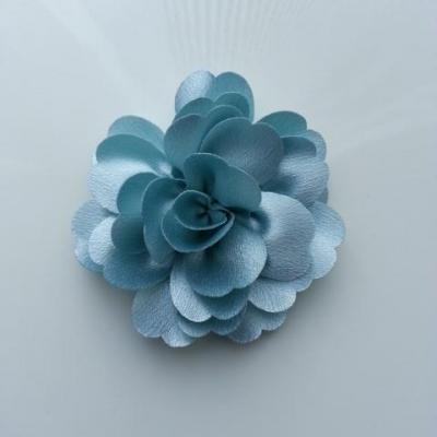 fleur en tissu cristal crêpe satiné  75mm bleu ciel
