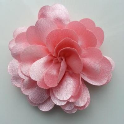 fleur en tissu cristal crêpe satiné  75mm  rose