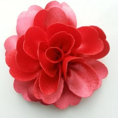 fleur en tissu cristal crêpe satiné  75mm rose saumon