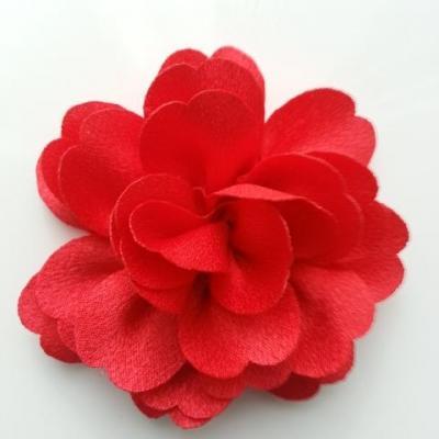 fleur en tissu cristal crêpe satiné  75mm rouge