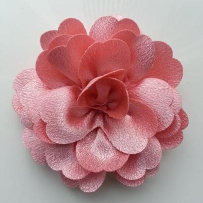 fleur en tissu cristal crêpe satiné  75mm vieux rose