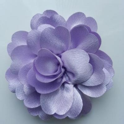 fleur en tissu cristal crêpe satiné  75mm mauve