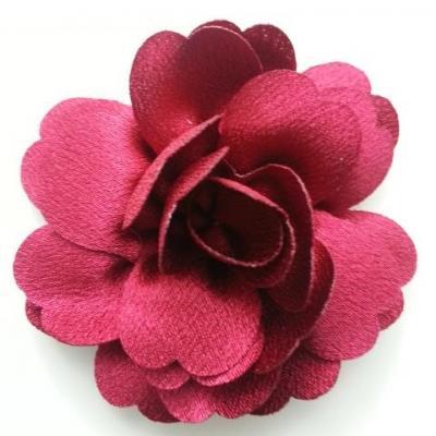 fleur en tissu cristal crêpe satiné  75mm bordeaux