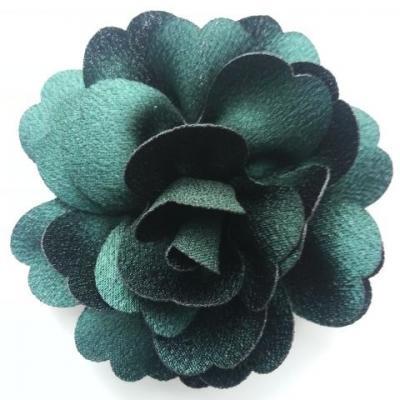 fleur en tissu cristal crêpe satiné  75mm vert foncé