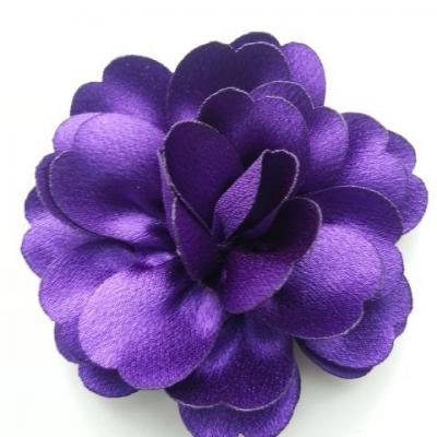 fleur en tissu cristal crêpe satiné  75mm violet