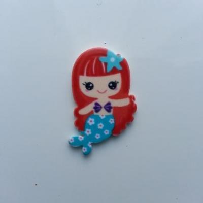 cabochon en résine sirène queue bleu cheveux rouge 30*20mm